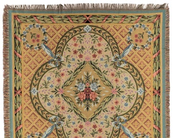 Savonnerie Throw Blanket - French Decor Tapestry Throw - Floral Throw Blanket - Tapestry table throw - French Classic Design
