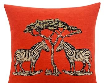 Zebra Pillow Cover - Wildlife Decor - Tropical Decor - Orange Decorative Pillow - 18x18 inch Tapestry Cushion Cover - Tropical Gift