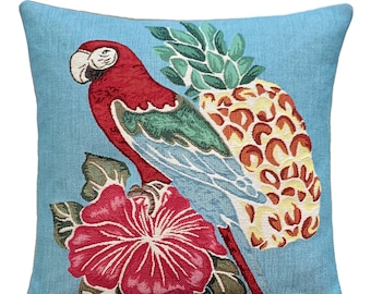 Parrot Pillow Cover - Parrot Decorative Pillow - Parrot Lover Gift - Tropical Decor - 18x18 inch Throw Pillow - Bird Cushion Cover