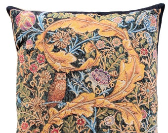 William Morris Owl and Pigeon Pillow Cover  - William Morris Gift - English Decor - Morris artwork - William Morris Tapestry Pillow Case