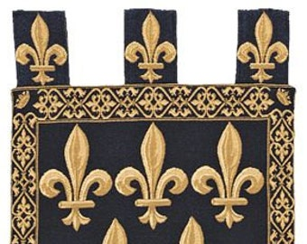 """belgian gobelin blue chenille wall tapestry hanging Fleur de Lys with loops jacquard woven 30""""x21"""""""