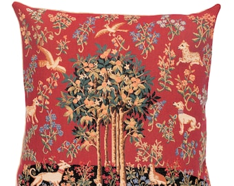 Unicorn Tree of Life Pillow Cover - Medieval Pillow - Red Throw Pillow - Tapestry Decorative Cushion Cover - Milani Cushion