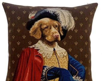 Yellow Labrador Pillow Cover - Labrador Portrait - Aramis Throw Pillow - Labrador Lover Gift - Dog Art Pillow Cover - Musketeer Gift