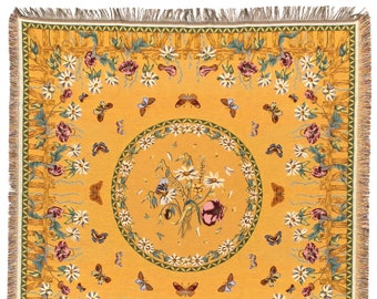 Flowers and Butterflies Throw Blanket - Gold Yellow Tapestry Throw - Floral Throw Blanket - Tapestry table throw - Fri,nged Throw Blanket