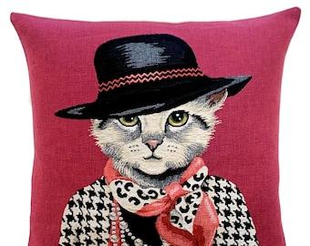 Cat Portrait Cushion Cover- Chanel Lover Gift  - Fashionista Gift - Cat Art - Cat Lover Gift - Cat Throw Pillow - Fun Cat Decor