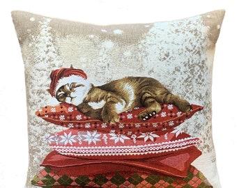 Christmas Pillow Cover - Christmas Decor - Cat Lover Gift - Cat Cushion Cover - Christmas Throw Pillow - Tapestry Cushion Cover - 18x18