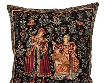 Medieval Tapestry Pillow Cover - Medieval Decor Accent Pillow - Concert Scene Decor - 18x18 Belgian Tapestry Cushion Cover - Galanteries