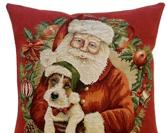 Santa Claus Pillow Cover - Christmas Decor Cushion Cover - Christmas Gift - Dog Lover Gift - 18x18 red throw pillow - Christmas Pillow