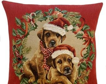 Labrador Puppies Pillow Cover - Christmas Decor Cushion Cover - Christmas Gift - Dog Lover Gift - 18x18 red throw pillow - Christmas Pillow