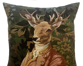 Stag Pillow Cover - Stag Portrait - Verdure  Decor - Forest Decor - Deer Cushion Cover - Stag Throw Pillow - Tapestry Pillow Cover
