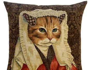 Cat Portrait Pillow Cover - Van Eyck Portrait - Margareta Van Eyck Portrait - Funny Cat Portrait Cushion Cover - Cat Art - Cat Decor