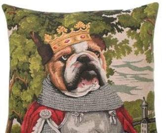 King Arthur Pillow Cover - Bulldog Pillow Cover - Bulldog Cushion Cover - Bulldog Lover Gift  - Medieval Decor