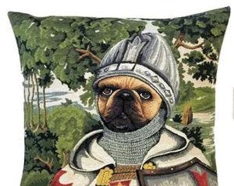 Templar Pillow Cover - Pug Pillow Cover - Pug Lover Gift - Templar Gift - Medieval Decor - Templar Knight