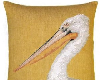 jacquard woven belgian tapestry pillow cushion with pelican