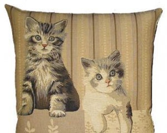 tabby cats pillow cover - cat lover gift - cat decor - white cat cushion cover - grey cat throw pillow - tapestry cushion cover