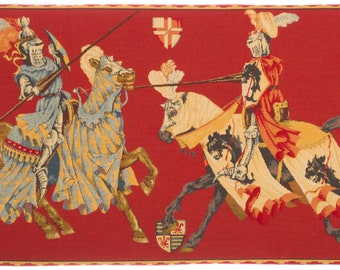 Medieval Lists Jousting Tournament Tapestry Wallhanging - Jousting Decor - Jousting Knights Wall Decor - Medieval Art Lover Gift