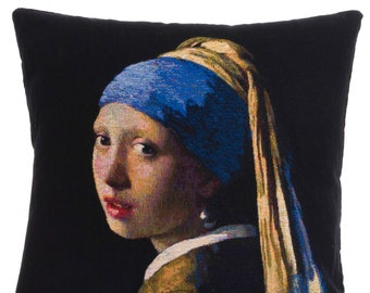Vermeer Girl With Pearl Pillow Cover - Vermeer Decor - Vermeer Gift - Vermeer Pillow Cover - Vermeer Art Decor - 18x18 Tapestry Cushion