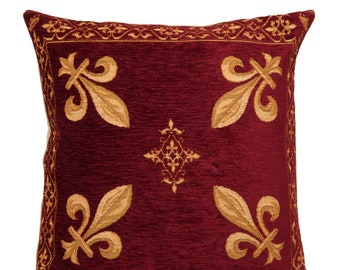 jacquard woven belgian gobelin tapestry cushion pillow cover french Fleur de Lys burgundy red - PC-1287/33
