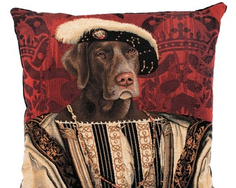 Weimaraner Portrait - Weimaraner Pillow Cover - Quirky Dog Portrait - 18x18 Belgian Tapestry Cushion Cover - Tapestry Decor - French Decor