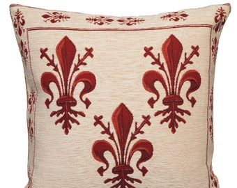 French Accent Pillow - Fleur de Lis Cushion Cover - Fleur de Lis Decor - French Decor - Tapestry Pillow Case - Chenille Pillow Cover