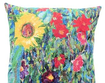 Klimt Sunflower Pillow Cover - Fine Arts Decor -  Gustav Klimt Gift - Floral Pillow Cover - Woven Cushion Cover - Gobelin Pillow