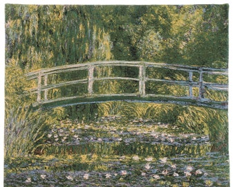 The Bridge of Giverny Tapestry Wall Hanging - Fine Arts Wall Decor - Monet Wall Tapestry Hanging - Impressionist Wallhanging - Monet Decor