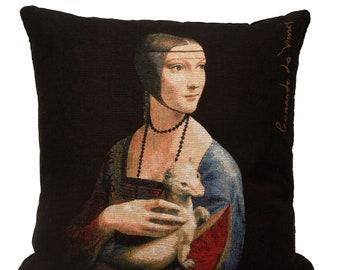 Leonardo da Vinci Pillow Cover - Lady with an Ermine Decorative Pillow - Fine arts Decor - Museum Gift - Italian Art Cushion Cover