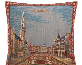 Brussels Decor Gift - Brussels Pillow Cover - Belgian Decor Gift - Brussels Grand Place - 18x18 Belgian Tapestry Pillow Cover