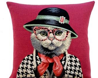 British Shorthair Cat Portrait  Pillow Cover- Chanel Jacket  - Fashionista Gift - Cat Art - Cat Lover Gift - cat throw pillow -Fun Cat Decor