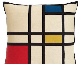 Mondrian Pillow Cover - Mondrian Abstract Decorative Pillow - Red Blue Yellow Throw Pillow - Modern Art Decor - Mondrian Lover Gift