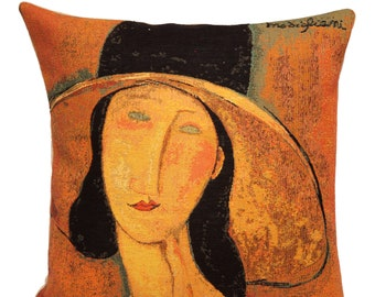 Jeanne Hebuterne Portrait Pillow Cover - Modigliani Cushion Cover - Fine Arts Cushion Cover - Modigliani Lover Gift - tapestry Throw Pillow