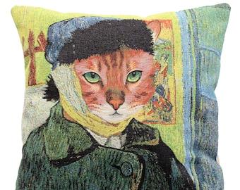 Van Gogh Self Portrait Pillow Cover - Van Gogh Cat Portrait - Van Gogh Museum Gift - Gobelin Pillow Cover - Fine Arts Gift
