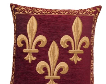 French Decor Pillow Cover - Fleur de Lis Cushion Cover - Burgundy Throw Pillow - Fleur de Lys Decorative Pllow