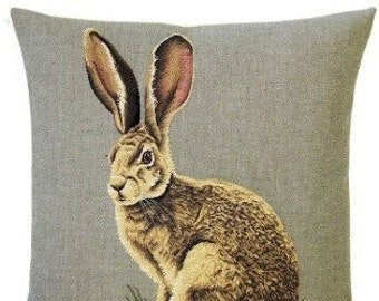Rabbit Pillow Cover - Hare Pillow - Forest Decor - Rabbit Gift - 18x18 Belgian Tapestry Cushion Cover