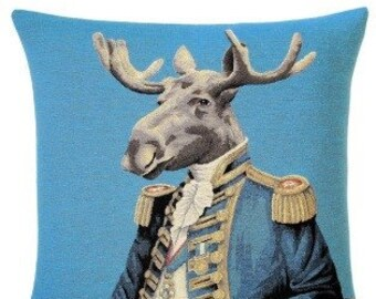 moose pillow cover - moose decor - moose gift - 18x18 belgian tapestry cushion cover - PC-5430