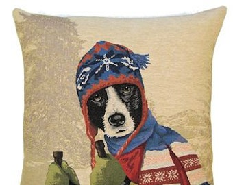 Border Collie Pillow Cover Mountain Winter Sports Decor - 18x18 BelgianTapestry Pillow Cover - Tapestry Cushion Cover - PC5232