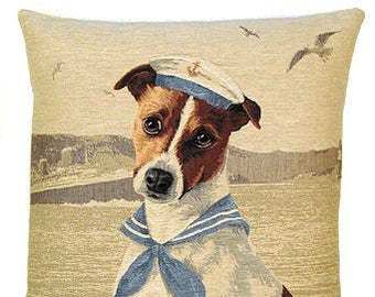 Jack Russell Pillow Cover - Nautical Pillow Cover - 18x18 Belgian Tapestry Cushion Cover - PC-5234