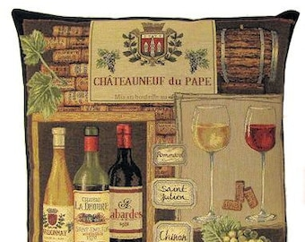 belgian tapestry throw pillow cushion cover wine labels Chateauneuf-du-Pape Provence