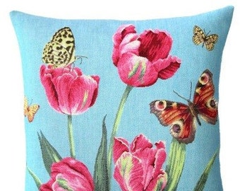 Tulip Pillow Cover with Butterflies - 18x18 Belgian Tapestry Cushion Cover - Floral Throw Pillow - PC-5435