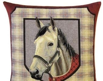 Horse Pillow Cover - Horse Pillow Case - Horse Pillowcase - White Horse Cushion Cover - Horse Throw Pillow - Horsehead Decor - Horse Gift