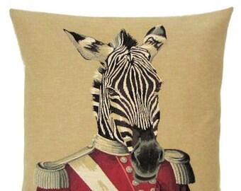Zebra Pillow Cover - Funny Zebra Decor - Zebra Gift - Dressed Zebra - 18x18 Belgian Tapestry Cushion Cover - PC-5320