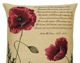 Flanders Fields Pillow Cover - World War I gift -  Poppy pillow cover - Poppy decor - 18x18 Belgian Tapestry Pillowcase - PC-5325