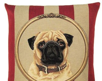 Pug Lover Gift - Pug Decor - Pug Pillow Cover - Pug Tapestry Cushion - 18x18 Belgian Tapestry Pug Throw Pillow - PC-5301