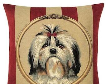 shih tzu pillow cover - shih tzu gift - 18x18 belgian tapestry pillow - shih tzu portrait - 18x18 pillow - wallpaper stripe - PC-5302