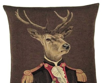 Stag Pillow Cover - Stag Decor - Stag Gift - 18x18 Belgian Tapestry Pillow Cover - Quirky Stag - PC-5212/BR