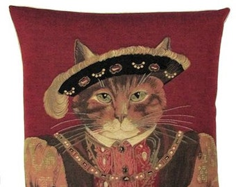 Susan Herbert Cat Pillow Cover - Henry VIII pillow cover - Cat Lover Gift - Cat Portrait - Cat Cushion Cover - PC-4773/R