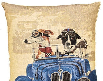Whippet Pillow Cover - Border Collie Pillow - Funny Dogs Pillow - Dog Lover Gift - Dogs in Car - PC-5154