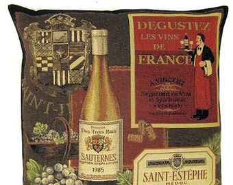 Wine Gift Wine Pillow Cover 18x18 Belgian Tapesty Throw Pillow Wine Lover Gift Cushion Cover - PC5123