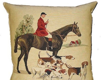 Foxhunt Pillow Cover - Foxhunt Decor - Foxhunt Gift - Tapestry Cushion Cover - English Decor - Horse and Beagles - 18x18 throw pillow