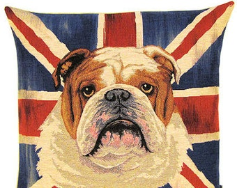 Grunge Style English Bulldog Pillow Cover with Union Jack Flag – 18x18 Belgian Tapestry Pillow Cover - PC-4909